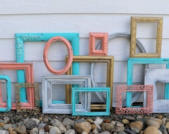 Set of 14 Upcycled Frames - Coral, Turquoise, Gold, White - Wall Gallery - Nursery -Wedding -Vintage Frames - Mint Coral Gold Scatter Frames