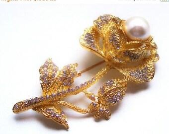 "Rose Flower Brooch Pin White Pearl & Clear Ice Rhinestones Gold Metal Big Bold 3"" Vintage"