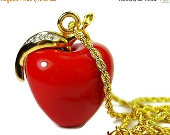 "KJL Apple Pendant Red Glass Clear Rhinestones Leaf Gold Metal 2"" Vintage"