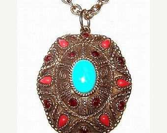 """Bohemian Pendant Necklace Turquoise Coral Cabs & Red Rhinestones Gold Metal 30"""" Vintage"""