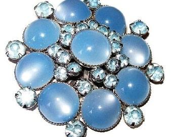 """Judy Lee Brooch Pin Signed Blue Moonglow Cabs & Rhinestones Silver Metal 2 1/4"""" Vintage"""