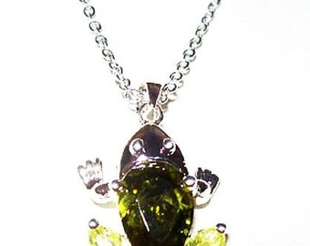 """Crystal Frog Pendant Chain Necklace Peridot & Lime Green Silver Metal 20"""" Vintage"""