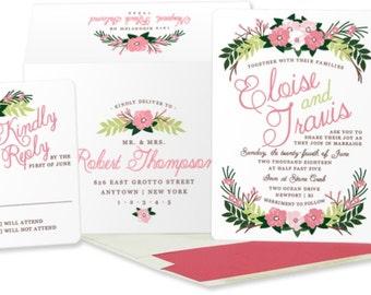 Floral Wedding Invitation: Garden Wedding Invitation. Floral Invitation. Pink Wedding Invitation. Rustic Chic wedding.  Pink Flower Wedding.