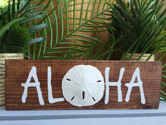 Aloha Wood Sign Rustic Wood Sign Hawaiian by SeaToLandDesigns