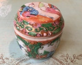 Sweet and Early Chinese Rose Medallion Trinket Box-Jar Circa the 1860's