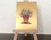 ACEO lavender Flower pot painting miniature original encaustic art card OOAK