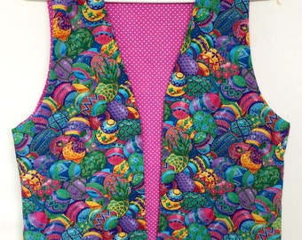 Easter Egg Vest Dotted Pink Reverse Ladies Small