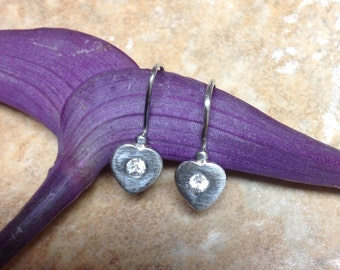Vintage Sterling Silver Heart-shaped Earrings with High-end Cubic Zirconia