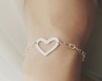 925 Sterling Silver Heart Bracelet / Open Heart Bracelet / Heart Bracelet / 925 Sterling Silver hammered OR Smooth Style Heart Bracelet
