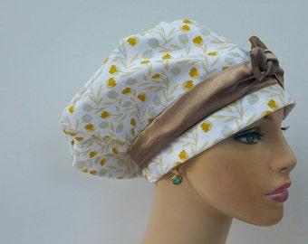 Woman Medical Scrub Cap - Golden Leaves - 100% cotton