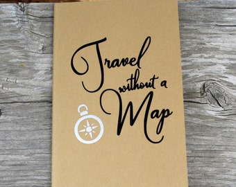 Travel Without A Map Compass Lined Vinyl Decal Journal