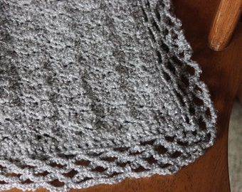 Rich Gray Baby Blanket with Silver thread