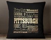 Pittsburgh Souvenir / Pittsburgh PA Decorative Pillow / Pittsburgh Pennsylvania Throw Pillow / Pennsylvania Souvenirs Pittsburgh - LHA-209