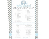 Elephant Baby Shower Animal Match Game, Instant Download Printable, Activity Card, Blue Animal Match Up, Boys Sprinkle DIY, Grey Chevron