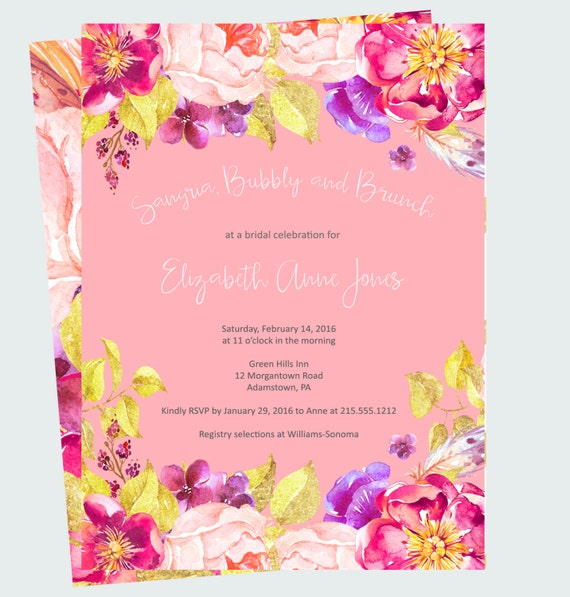 Sangria Wedding Invitations: Sangria Bridal Shower Invitations Exotic By PaperCleverParty