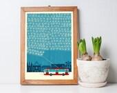 Winter Trolleybus Blue Art Print A3 - Housewarming Gift, Christmas Gift, Nursery Decor, Home Decor, Wall Art - Inspired by Vilnius Lithuania