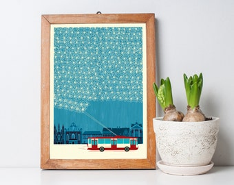 Crafty Trolleybus in Winter Lace, Blue sky, Art Print A3 - Inspired by Lithuania Series