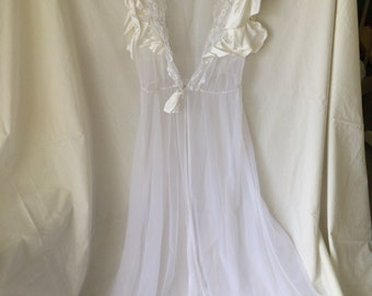 Vintage sheer lace and satin dressing gown lingerie
