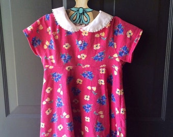 Vintage Carters knit floral peterpan collar dress 6x
