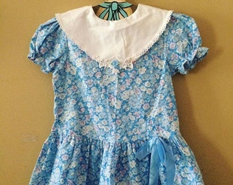 Vintage girls blue floral dress 18-24 months