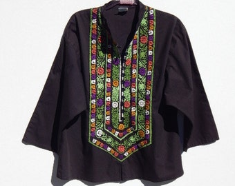 MEXICAN  Embroidered Gauze Peasant BOHEMIAN Folk  Ethnic Guru  Hippie Top