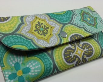Coupon Holder, Coupon Pouch, Coupon Wallet, Cash Envelope Wallet - Aqua Morracan