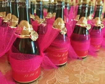 Two Dozen Miniature Champagne Bottle Bubbles Favors with Personalized Labels and Faux Diamond Rings