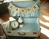 Vintage Blue 1950s Suitcase , Wedding Card Holder, Wedding Decor, Old Suitcase, Blue Decor, Fall Decor