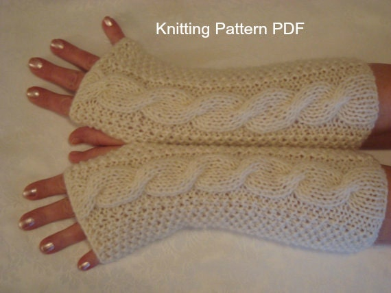 Fingerless Gloves Knitting Pattern PDF-Cable Gloves-Arm Warmers- PDF Knit Pat...