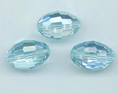 Three awesomely beautiful, extremely rare vintage Swarovski crystals - aquamarine AB - Art. 36/5200 - 12 x 18 mm