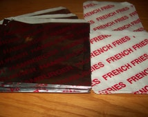 Retro Foil Hamburger Bags & French Fries Bags  Holders Picnic Cookout Birthdays  Set of 50