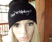 New Black Got Whiskey Oversized Beanie/Stocking Knit Hat-Embroidered Trademark Clothing line-Holiday Gift