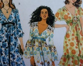 Misses Sewing Pattern McCalls M5805 5805 Misses Flirty Dress V Neck Floaty Summer Ruffle --Size 16 18 20 Bust 38 40 42 UNCUT