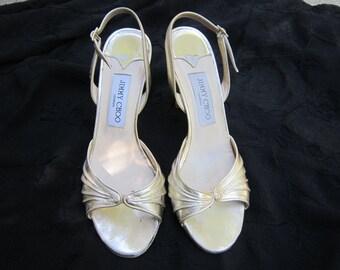 Jimmy Choo Gold Sling Back Open Toe Shoes