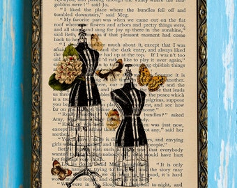 Butterfly Garden Dressing Room Collage Print on an Antique Upcycled Bookpage