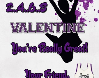 Cheerleading Valentine Cards - Blue, Green, Black, Orange, Red or Purple