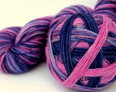 "Speckles and Stripes Sock Yarn, Superwash Merino and Nylon Fingering Weight, in ""Phlox and Denim"""