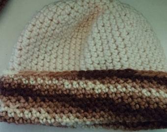 Crochet White Brown Baby Beanie.