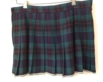 Vintage Pleated Plaid Skirt With Lace Trim