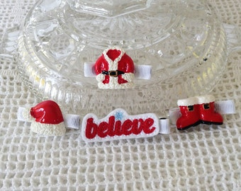 Set of 4 Believe Santa Suit Clips ALL AGES,Newborn thru Adults, American Doll, Pets,Fall,Halloween,Thanksgiving,Christmas,Mini clips