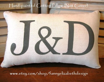 Hand-painted Pillow-Valentine Pillow -Wedding Pillows-Customized Pillows-Personalized Pillows-Wedding Gift- Anniversary-Engagement Gift