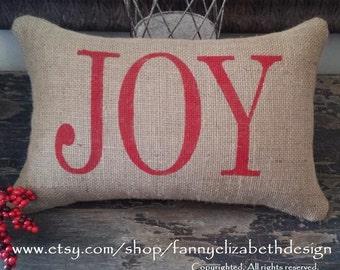 """Burlap """"JOY"""" Pillow FREE SHIPPING- Christmas Pillow- Christmas- Burlap Pillow- Decorative Pillow- Pillows- Joy Pillow"""