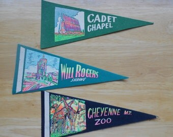 Retro tourism banners.  Tourism flags.  Will Rogers.  Cadet Chapel.