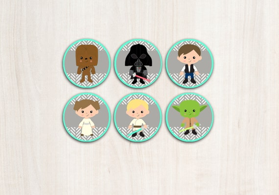 Star Wars Cupcake Toppers in Bright Aqua - Character Cupcake Toppers - Star Wars - Party Supplies - INSTANT DOWNLOAD