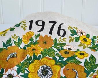 Fabric wall calendar 1976, vintage Swedish printed wallhanging, seventies brown green yellow