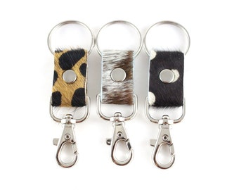 Keychain Clasps | Calf Hair Keychain | Hair On | Handbag Accessory | Cheetah | Salt Pepper | Polka Dot | Keyfob | Handmade