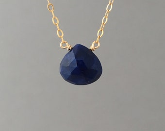 Small Lapis Stone Gold Fill Necklace also in Sterling Silver and Rose Gold