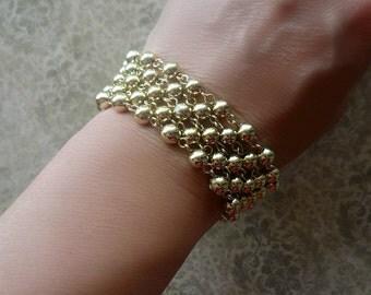 Vintage Lisner Bracelet - Gold Beaded Multi Strand Bracelet - Designer Bracelet - Signed Costume Jewelry