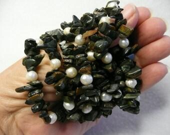 DESTASH  Blue Tiger Eye and Fresh Water Pear Nugget Stretch Bracelets  7pc Lot