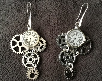 Steampunk Gears & Watch Silvertone Dangle Earrings
